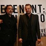 El Director de cine Alejandro Gonzales Iñarritu y el actor Leonardo Dicaprio eb conferencia de prensa en la ciudad de México