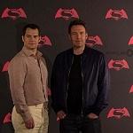 Ben Affleck y Henry Cavill actores que interpretan a Batman y Superman en la pelicula de Batman vs Superman en la premier de la Ciudada de México 2