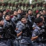 Agrupamiento Femenil de la fuerza áerea en el desfile 2016