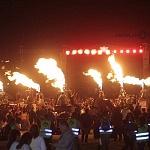 Noches mágicas del FIG 2016 los participantes enciende sus quemadores al mismo tiempo haciendo un espectáculo fuego