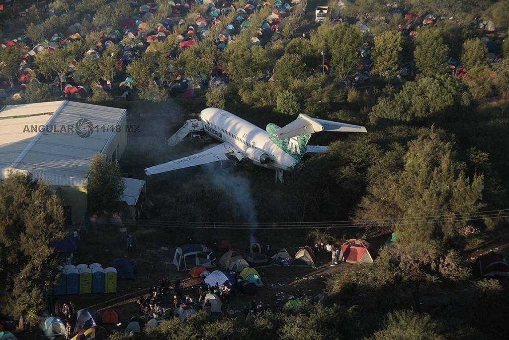 Vista aérea del campamento del Festival Internacional del Globo 2016 en León GTO
