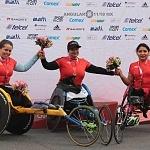 ganadoras rama silla de ruedas del XXXV edición del Maratón de la ciudad de México