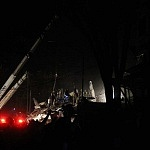 maquinaria durante la noche en el sismo del 19 de septiembre 2017
