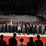 Ceremonia de despedida de Rescatistas de Estados Unidos en el Hangar de la unidad especial de transporte aéreo del alto mando en la ciudad de México