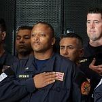Despedida de Rescatistas de Estados Unidos en el Hangar de la unidad especial de transporte aéreo del alto mando en la ciudad de México