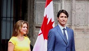 Primer Ministro de Canadá Justin Trudeau y su esposa Sophie Grégorie en Visita de estado a la Ciudad de México (p)