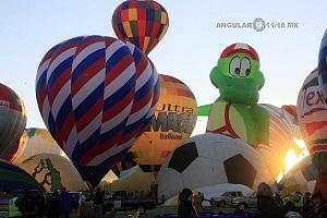 Festival Internacional del Globo de León 2017 despegues e inflado de globos