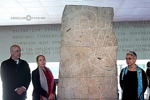 Presentación del bajorrelieve llamado Xoc perteneciente a la cultura Olmeca en el Museo Nacional de Antropología e Historia 5