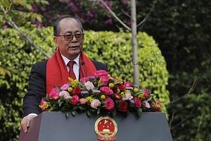 Embajador Qiu Xiaoqi de China en México en la celebración del año chino 2018