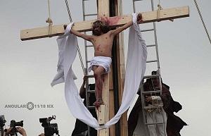 175 representación de la Psión de Cristo en Iztapalapa Inicio del Viacrucis Jesus Crusificado en el cerro de la estrella