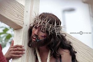 175 representación de la Psión de Cristo en Iztapalapa Inicio del Viacrucis retrato del Cristo BE