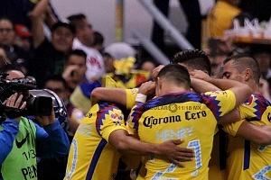 festejo del America del gol del trinfu ante el Cruz Azul en la jornada 13