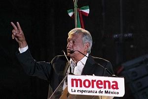 Andrés Manuel López Obrador, candidato a la presidencia de México en su cierre de campaña en el Estadio Azteca 2018