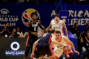 México derrota a Estados Unidos 78-70 rumbo a la Copa Mundial FIBA China 2019 gimnasio Olimpico Juan de la Barrera defensa