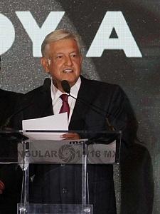 Andrés Manuel López Obrador durante la jornada electoral del 1 de julio declaraciòn de su triunfo en el hotel HILTON de Reforma 1