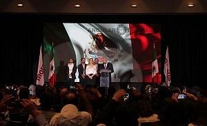 Andrés Manuel López Obrador es el nuevo Presidente Electo de México en su declaraciòn de triunfo en el hotel HILTON de reforma 1