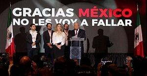 Andrés Manuel López Obrador es el nuevo Presidente Electo de México en su declaraciòn de triunfo en el hotel HILTON de reforma