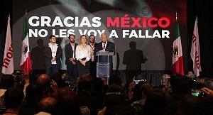 Andrés Manuel López Obrador es el nuevo Presidente Electo de México en su declaraciòn de triunfo en el hotel HILTON de reforma despues del resultado de la elección