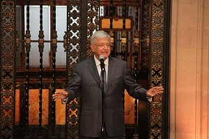 Andrés Manuel López Obrador presidente electo de México en conferencia de prensa en Palacio Nacional p