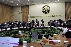 Instituto Nacional Electoral sesión en el salón principal del 1 de Julio elecciones presidenciales 2018