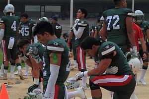 Jugadores de la selecciòn Méxicana de Futbol Americano U-19 previo al encuentro contra Japón
