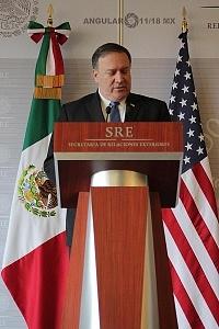 Mike Pompeo secretario de Estado de Estados Unidos y ex director de la (CIA) en la Secretaria de Relaciones Exteriores de la ciudad de México 3