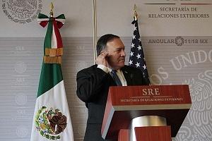 Mike Pompeo secretario de Estado de Estados Unidos y ex director de la (CIA) en la Secretaria de Relaciones Exteriores de la ciudad de México