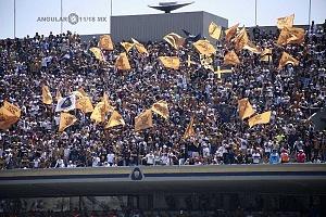 afición universitaria en el encuentro de Pumas vs Necaxa en la jornada 2