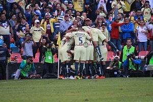 festejo del primer gol del América frente al Atlas en la jornada 2 del apertura 2018