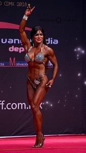 Competidora de fisicoconstructivismo con el numero 1497 en la categoria Señorita perfecciòn Bikini dentro del marco del 66 Mr México 2018