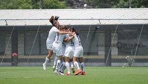 Festejo del gol Pumas derrota a Lobos BUAP en la Jornada 5 de la Liga MX Femenil por 1-0
