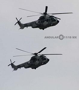 Ensayo de la Parada Aérea del Desfile Militar del 16 de Septiembre de 2018 Helicópteros aterrizando en formación