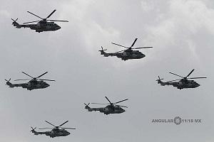 Ensayo de la Parada Aérea del Desfile Militar del 16 de Septiembre de 2018 Helicópteros en formación
