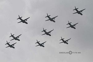 Ensayo de la Parada Aérea del Desfile Militar del 16 de Septiembre de 2018 aviones en formación