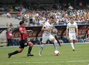 Pablo Barrera lateral de Pumas, frente a Lobos BUAP, en la jornada 9 del torneo de liga apertura 2018