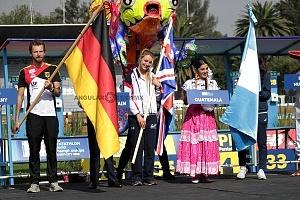 ceremonia inaugural del Campeonato Mundial de Pentatlón Moderno Ciudad de México 2018, representantes con banderas