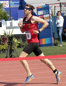 competidor alemán Fabian Liebig en la disciplina de Atletismo, Mundial de Pentatlón Moderno Ciudad de México 2018