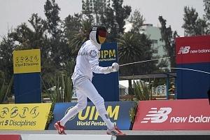 competidor alemán Fabian Liebig en la disciplina de esgrima, Mundial de Pentatlón Moderno Ciudad de México 2018