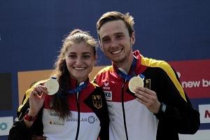 en relevo mixto, el equipo integrado por los alemanes, Fabian Liebig y Rebecca Langrehr, se llevan la medalla de oro, del Campeonato Mundial de Pentatlón Moderno de la Ciudad de México