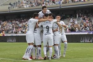 festejo del gol de Alan Mendoza de Pumas frente a Lobos BUAP, en la Jornada 9, del Apertura 2018