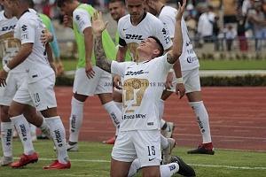 festejo del gol de Pumas de Juan Manuel Iturbe en la jornada 9, del torneo apertura 2018
