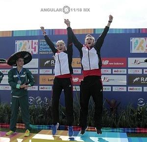 relevo mixto de Alemania integrado por Fabian Liebig y Rebecca Langrehr, se llevan la medalla de oro del Campeonato Mundial de Pentatlón Moderno de la Ciudad de México