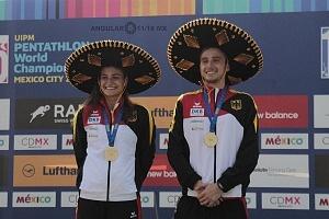 relevo mixto de Alemania integrado por Fabian Liebig y Rebecca Langrehr, se llevan la medalla de oro, del Campeonato Mundial de Pentatlón Moderno de la Ciudad de México