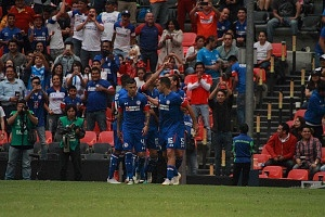 Cruz Azul derrota a Monterrey (2-1) en la Jornada 12 del torneo Apertura 2018, de la Liga MX Festejo del primer gol, del Cruz Azul