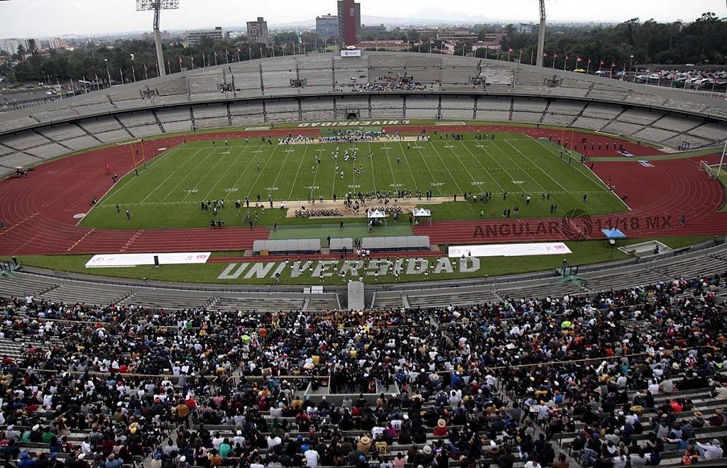 Panorámica del estadio olímpico universitario en el encuentro Pumas Cu vs Autenticos Tigres