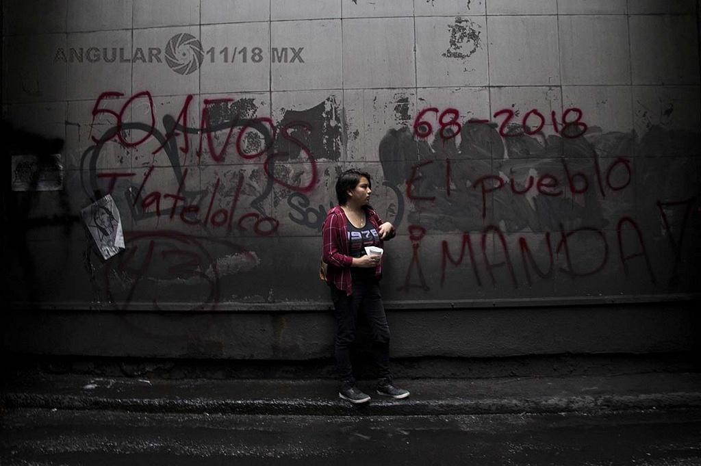 pintas, con motivo de la marcha del 2 de octubre conmemorando la trajedia de tlateloco donde asesinaron a estudiantes en 1968