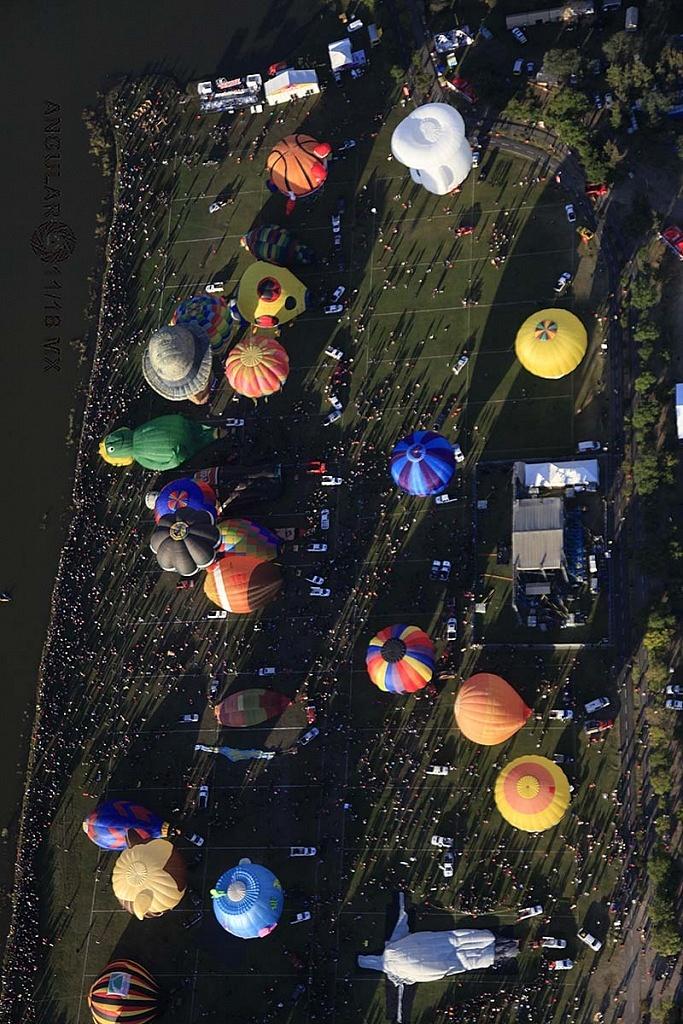 Festival Internacional del Globo 2018, León Guanajuato, vista aeréa del parque metropilitano