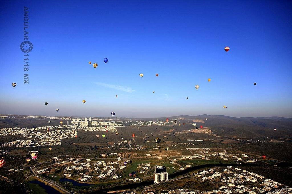 Festival Internacional del Globo 2018, León Guanajuato vista aeréa desde el globo numero 183,