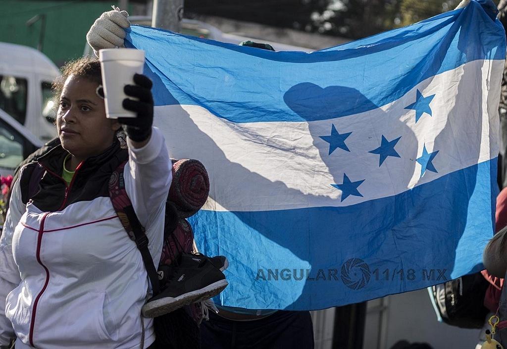 Migrante de Honduras que se dirige hacia la frontera de Estados Unidos