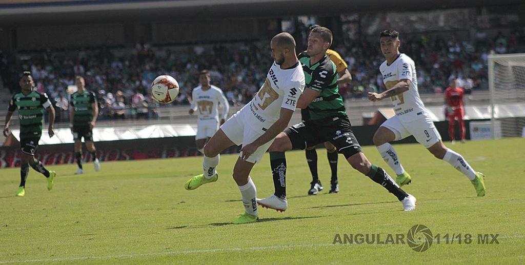 Pumas empata 1-1 con Santos, Laguna en la jornada 17 del torneo apertura de la liga Mx, 2018,